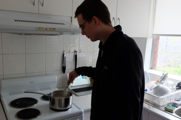 14 minutes in, the pudding still wasn't thickening, so I let Joel have a turn. /strategy