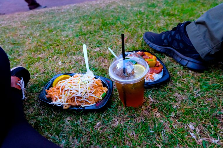 Picnic! Pad thai is the least exciting food I could have chosen, but I haven't had it in months and I regret nothing.