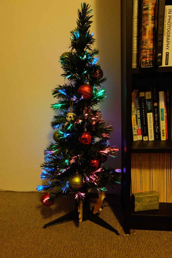 hooray! We'll get a bigger tree when we move to a bigger place. For now, this TECHNICOLOR TINY TREE