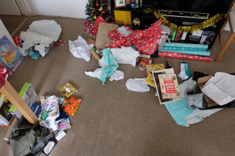 the Christmas carnage. You can see the digital drawing tablet that Joel got for me. I'm so jazzed about that!