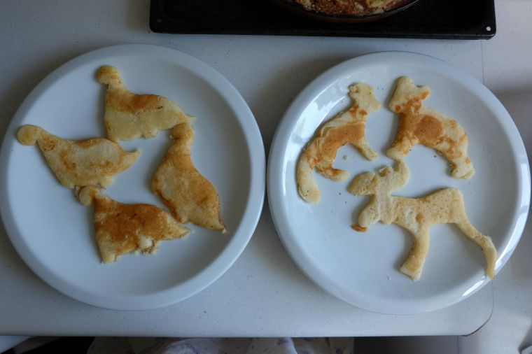 My dinosaurs, and Joel's Maine animals (that's a fox, a bear, and a moose. Thank you, Ikea cookie cutters!)