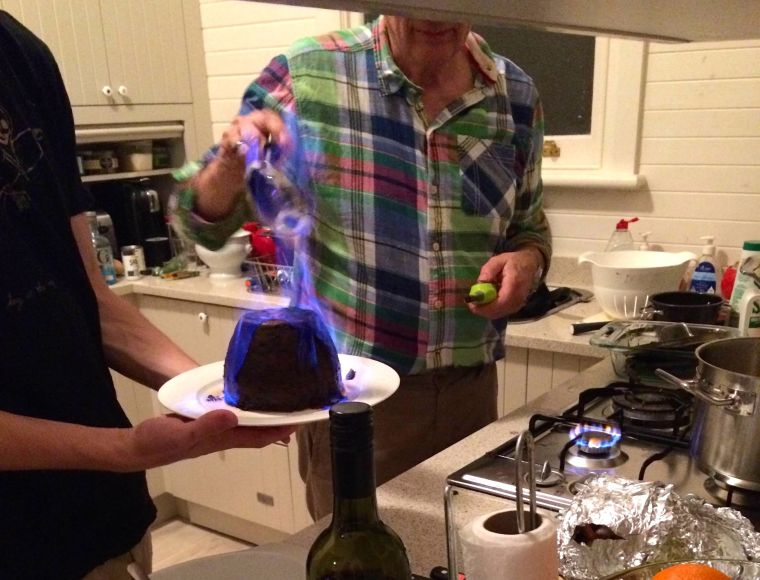 Christmas Pudding a flambe! This was cool. Joel's dad lit a ladle full of brandy, and then basically poured fire over the pudding. Incredibly dangerous, but the effect was so cool. The pudding wasn't bad either.