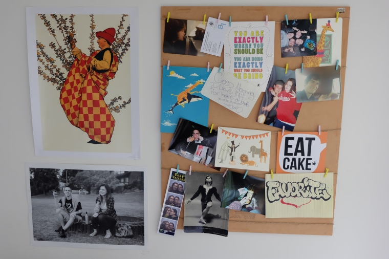 new keepsake wall. I especially like the motivational Eat Cake movement.