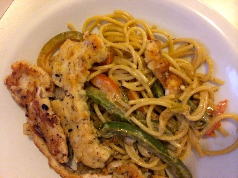 Better Than Olive Garden's Chicken Scampi (I used a copykat recipe that gave me the most badass way to bread and fry chicken. So much yum.)