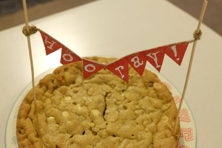And then there was demolishing of the cookie cake I made for Joel to celebrate him making his bonus this year. Hooray!