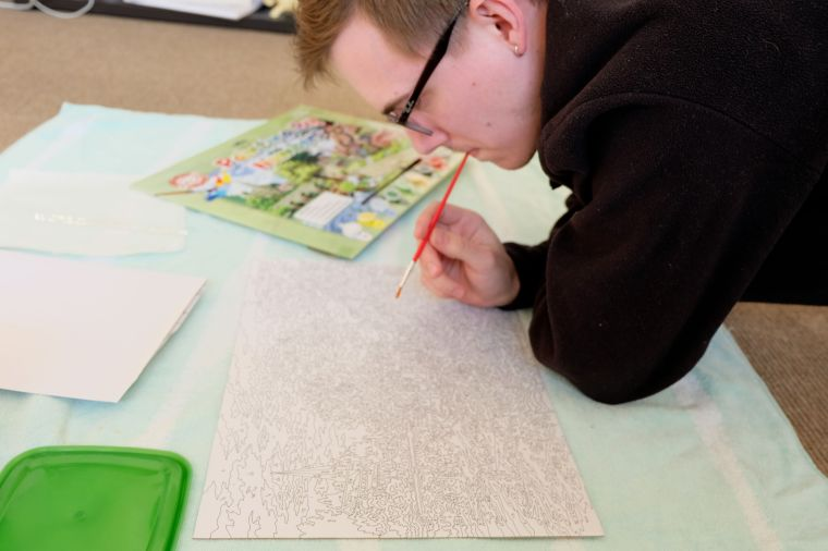 An artist prepares