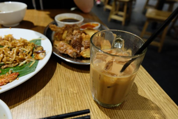 ice milk tea and our platter of Lor Bak -  five-spice pork rolls, prawn cakes and fried tofu. I never knew how good fried tofu could be.