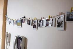 I finally got around to re-hanging our string of Instax pics. Don't even get me started on that eyesore phone. I'm going to take it down and hang a framed pic over the phone jack.