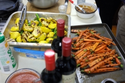 Grilled veg, sauces, and wine - treasures
