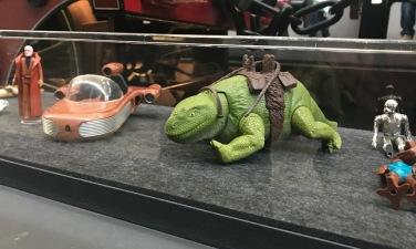 While we waited in the que, we got to check out all the Star Wars toys on loan from collectors. My brother Shayne had this Dewback.